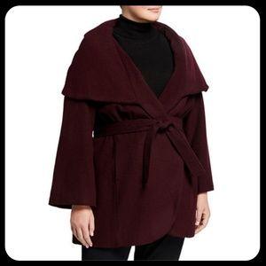 T Tahari Marla Wool-Blend Red Wrap Coat